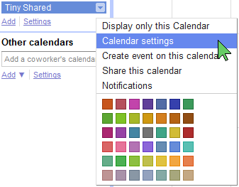 Getting to a Calendar's settings