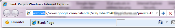 iCal address in IE address bar
