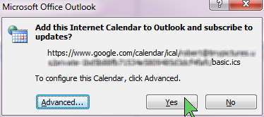 Outlook - Add Internet Calendar - Confirm