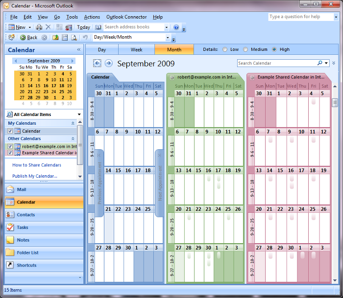 Outlook - All calendars - Side-by-side